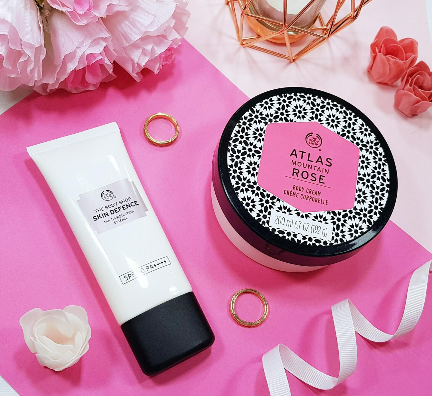 The Body Shop Atlas Mountain Rose Body Cream and The Body Shop Skin Defence Essence