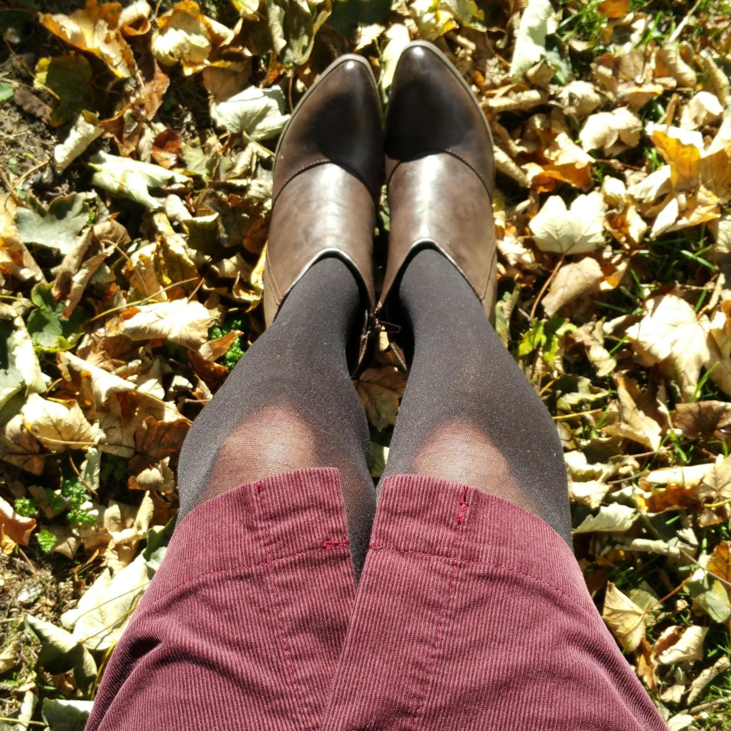 walking amongst Autumn leaves
