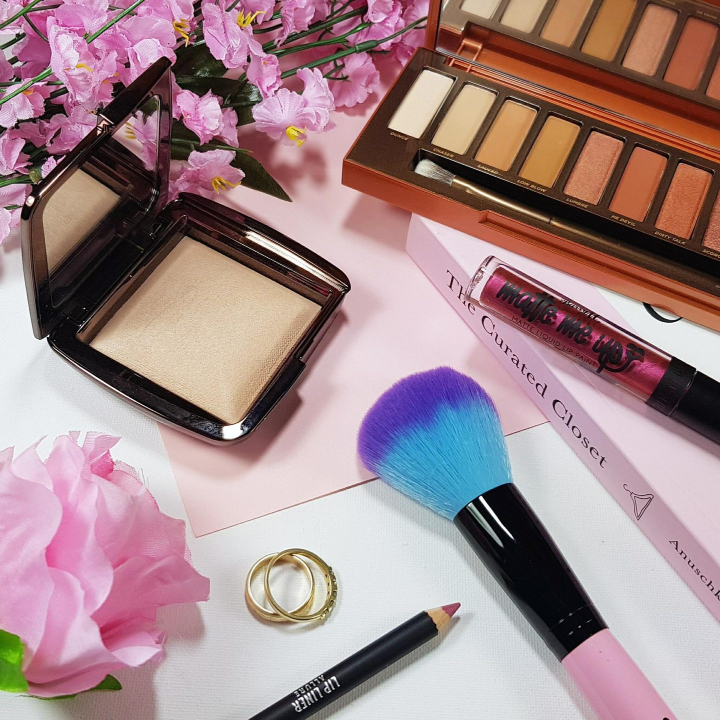 flowers, makeup and makeup brush