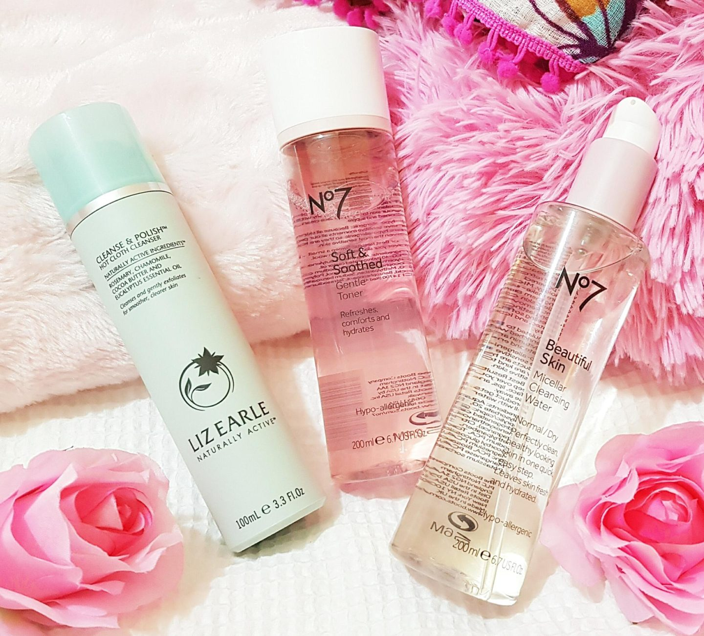 Liz Earle Hot Cloth Cleanser and No7 Gentle Toner