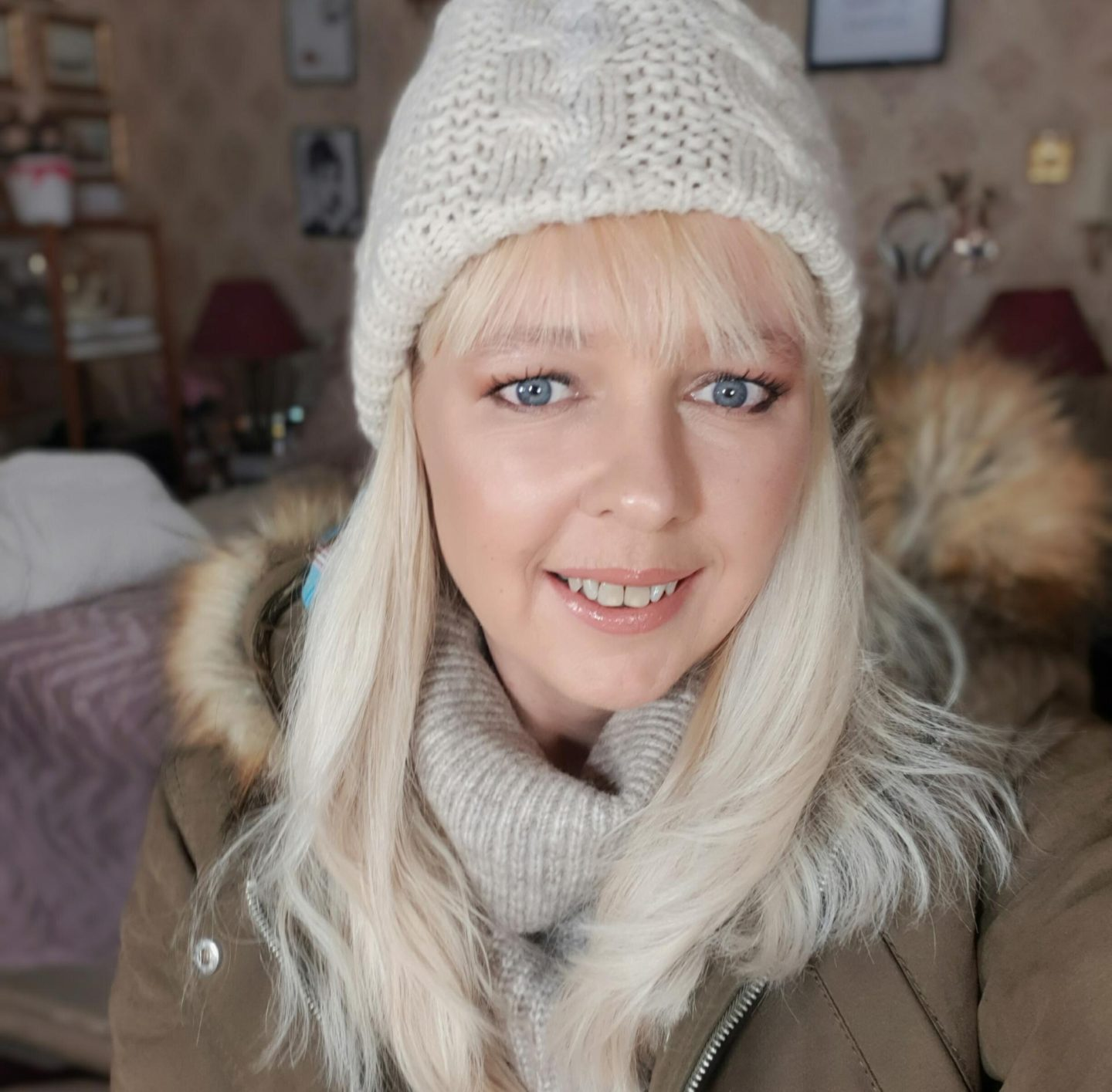 in this months catch up post I'm wearing a cosy coat and bobble hat